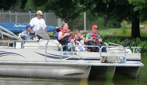 Boaters and fishing lovers joined up at Lakeside Park as part of the Fishing Has No Boundaries program, which takes physically and mentally challenged people fishing for the day.
