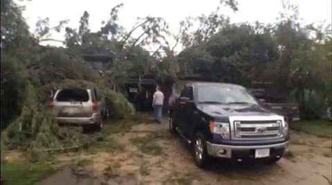 An early Monday morning storm in south Wood County resulted in downed trees, power lines and power outages. (Aug. 25, 2014 Casey Lake/Deb Cleworth)