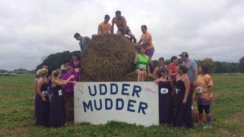 Udder Mudder runners on Saturday, Sept. 20, 2014 honor bride to be Shannon Hall killed in car crash