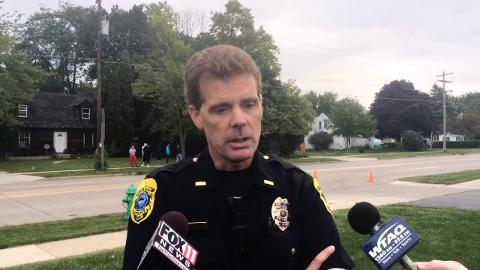Green Bay police Lt. Jody Buth talks about a black bear seen wandering in a west-side neighborhood on Thursday morning (Sept. 18, 2014)