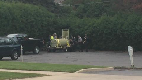 Green Bay police and Wisconsin Department of Natural Resources officials talk about a bear captured on Green Bay's west side on Thursday morning. (Sept. 18, 2014)