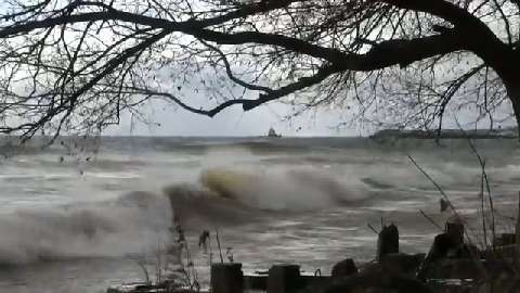Strong winds made for big waves along Manitowoc's shoreline Oct. 31, 2014.