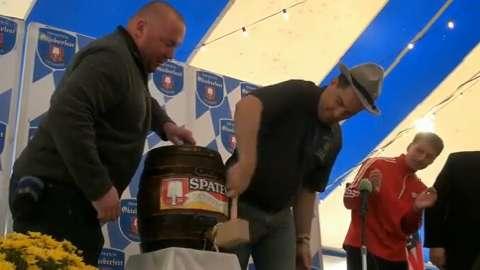 Al & Al's Steinhaus in Sheboygan hosted it's seventh annual Oktoberfest event. Gov. Scott Walker tapped the ceremonial keg. (October 2014)
