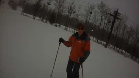 A Daily Herald Media reporter wears a camera on her first attempt at downhill skiing.