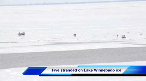 Five people were rescued from Lake Winnebago after a crack formed on the east side near Columbia Park on Sunday, Dec. 7, 2014.