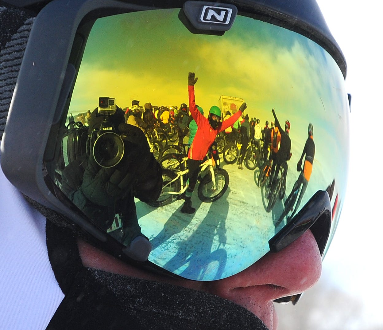 Bicycling on ice, Spear the Fatty- Fat Tire Race on Lake Winnebago during Sturgeon Stampede.
