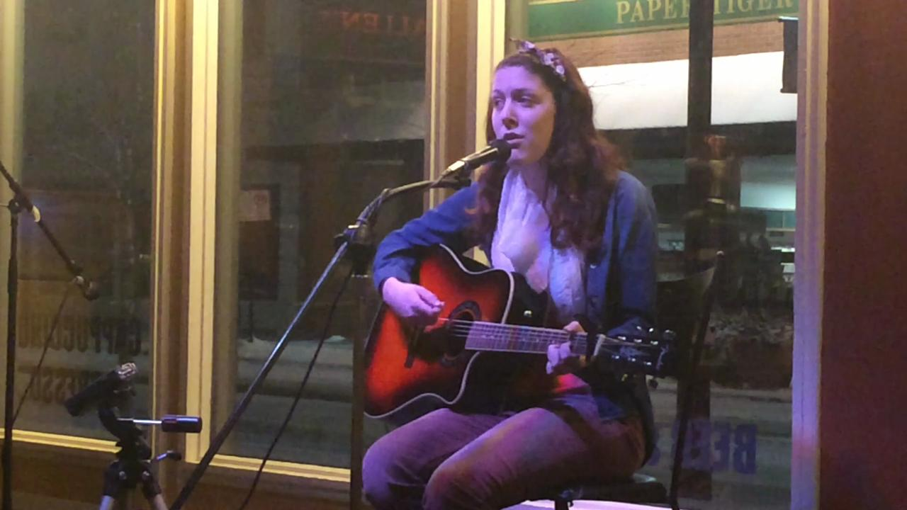 "Carly Tebo performs ""Be Alright"" during Open Mic Night at New Moon Cafe on Feb. 3. (Feb. 5, 2014)"