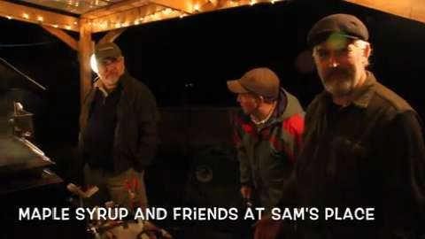 Sam Voight and his wife Jenny host friends and neigbors and use their help and sap to make maple syrup at their Marshfield home.