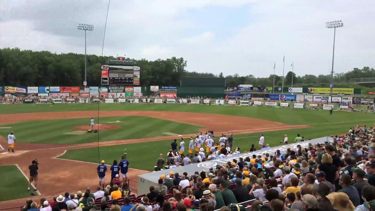 The Green Bay Packers took to Neuroscience Group Field at Fox Cities Stadium in Grand Chute, Wis., to play the Jordy Nelson Charity Softball Game. (June 12, 2015) Danny Damiani/Post-Crescent Media