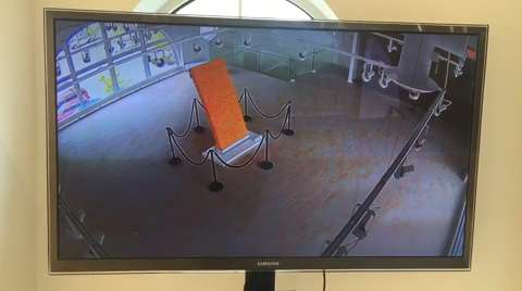 Video footage from THELMA security tapes of the fall of the 'Cheetos sculpture,' known to the artist as Aggregate 2.