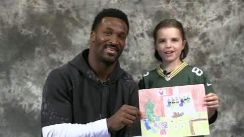Maggie Hendrick, an 8-year-old Appleton girl who was diagnosed with leukemia, has teamed with Green Bay wide receiver James Jones to create a holiday greeting card featuring Maggie's artwork and both of their signatures.