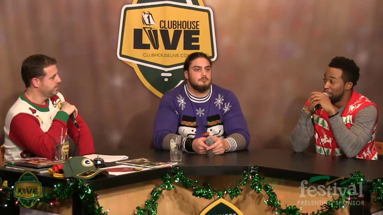 Green Bay Packers David Bakhtiari co-hosts Clubhouse Live, Gannett Wisconsin Media's live weekly pro football show from The Clubhouse in downtown Appleton. Bakhtiari's guest was running back John Crockett (Dec. 21, 2015)