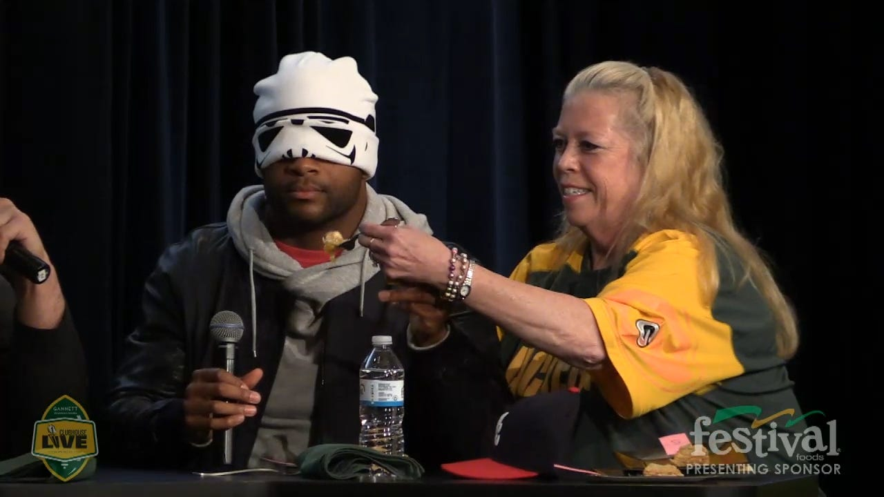 "Randall Cobb summons ""The Force"" wearing his stormtrooper cap during his pie tasting battle with David Bakhtiari at the Festival Foods Pack the Pantry event on Clubhouse Live on Nov. 23rd. (Dec. 15, 2015)"
