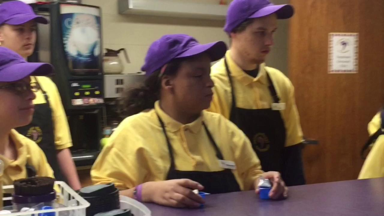 Sheboygan Falls High School's Falcon Java Roost coffee shop is operated entirely by students from the school's special education program who have their jobs down to a science.