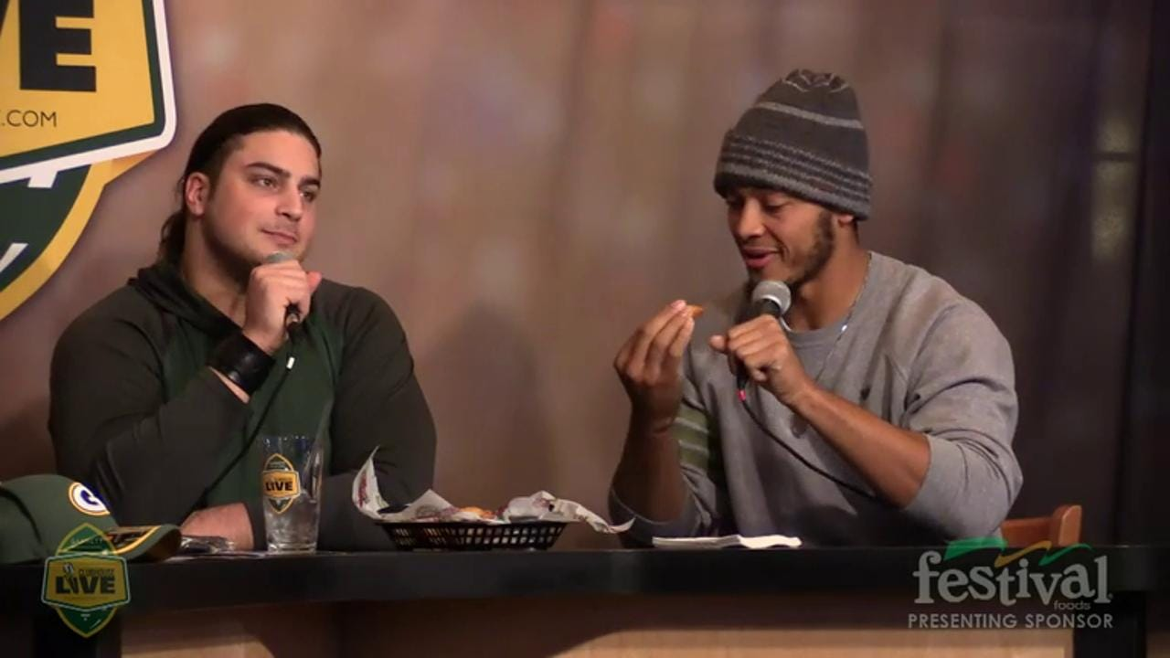 Green Bay Packers David Bakhtiari co-hosts Clubhouse Live, Gannett Wisconsin Media's live weekly pro football show from The Clubhouse in downtown Appleton. Bakhtiari's guest was quarterback Brett Hundley Jan. 5, 2016)