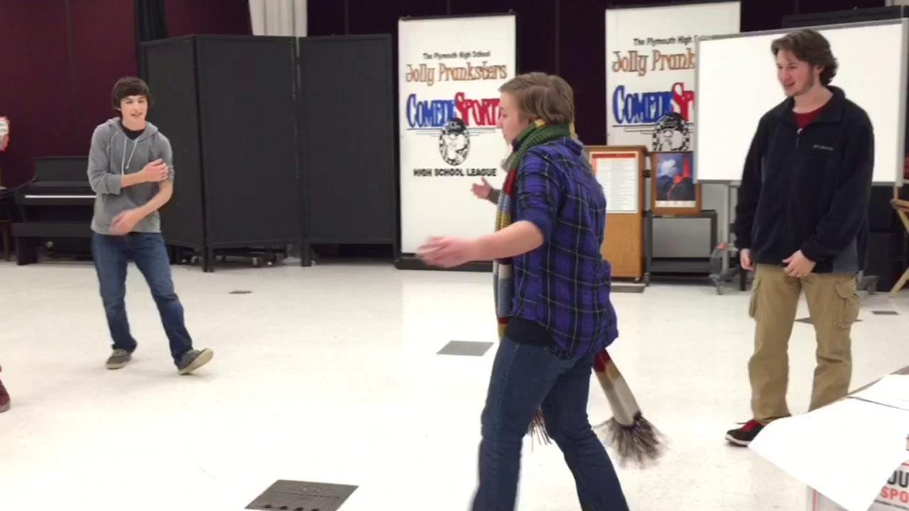 Plymouth High School's Jolly Pranksters practice for their upcoming improv comedy competition at ComedySportz in Milwaukee.
