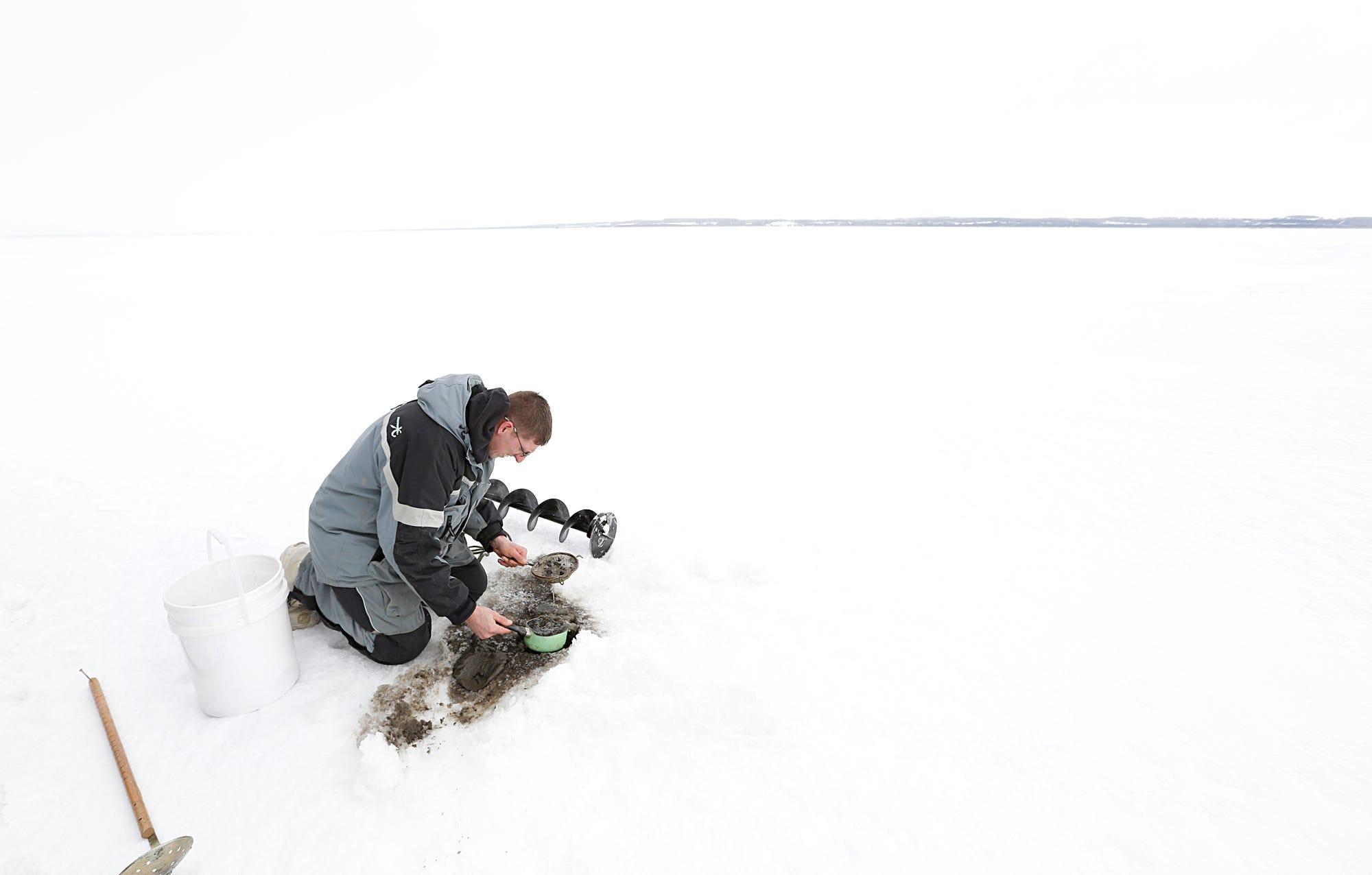 Getting ready for sturgeon spearing on Lake Winnebago