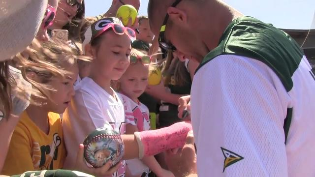 Green Bay Packers receiver Jordy Nelson hosted the 2016 edition of his annual charity softball game at the Neuroscience Group Field at Fox Cities Stadium in Grand Chute. (June 12, 2016)