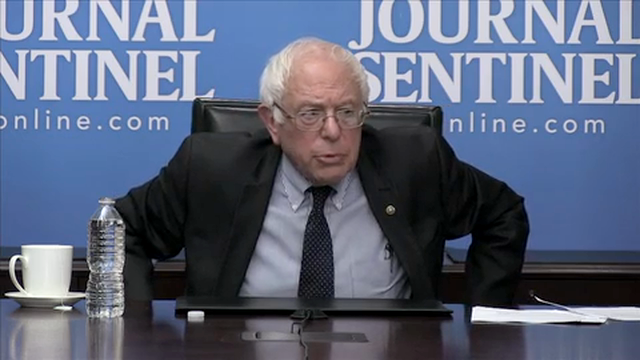 In a meeting with the Journal Sentinel Editorial Board and reporters, Sen. Bernie Sanders discusses how he can with the Democratic Party's nomination for president.