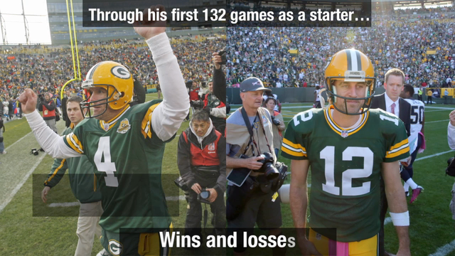 How do Brett Favre and Aaron Rodgers compare?