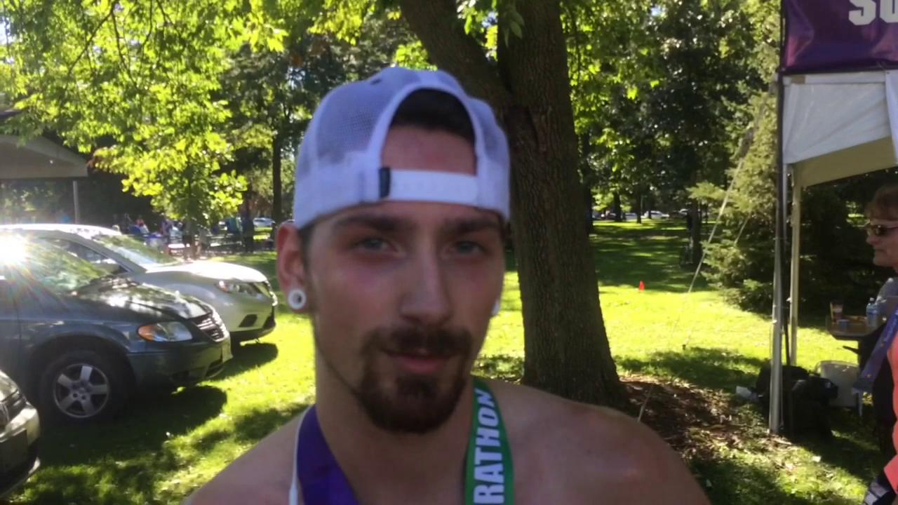 Mason Grundy, winner of the Community First Fox Cities marathon, and Alisha Damrow, champion of the women's division, discuss their victories following Sunday's marathon at Riverside Park in Neenah. Sept. 18, 2016