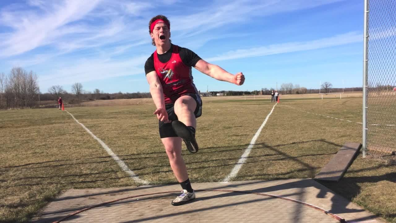Valders' Christopher Evenson demolished the Oostburg Invitational track meet's record by over 40-feet with a 186-foot toss at the event Friday.