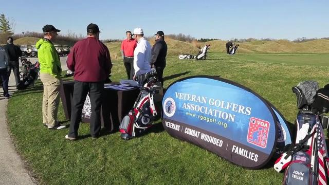 A group of about 50 veterans made at tour stop at Whistling Straits Saturday. The group uses golf as a means to help veterans with coping with life back home. (April 24, 2017)