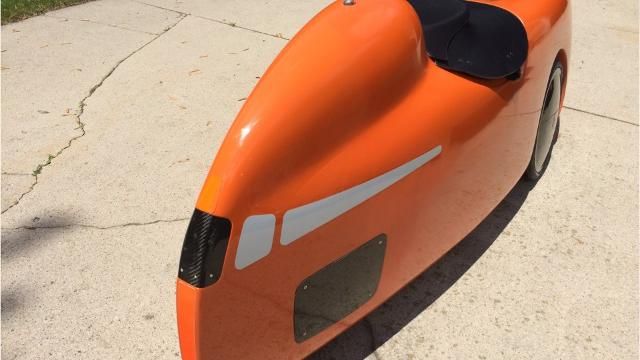 Jerome Schmidt, a resident of Fond du Lac, Wisconsin, is turning heads with his unique, aerodynamic wheels. His velomobile is one of few in the U.S. Sharon Roznik/USA TODAY NETWORK-Wisconsin